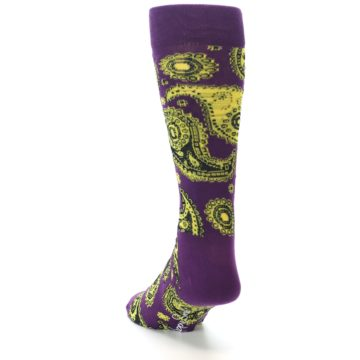 Image of Purple Yellow Black Paisley Men's Dress Socks (side-2-back-16)