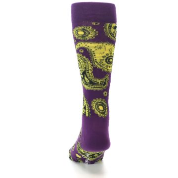 Image of Purple Yellow Black Paisley Men's Dress Socks (back-17)