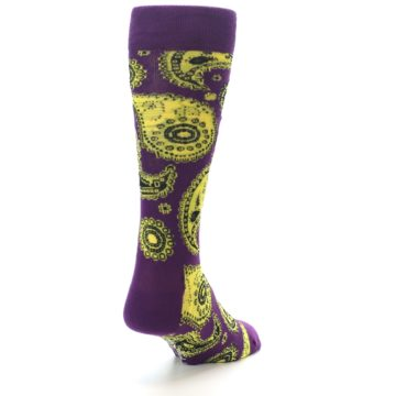 Image of Purple Yellow Black Paisley Men's Dress Socks (side-1-back-20)