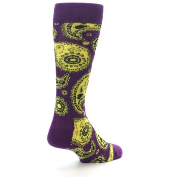 Image of Purple Yellow Black Paisley Men's Dress Socks (side-1-back-21)