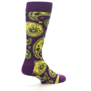 Image of Purple Yellow Black Paisley Men's Dress Socks (side-1-back-22)