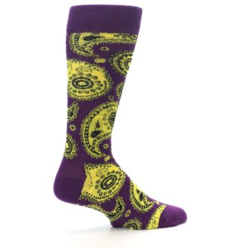Image of Purple Yellow Black Paisley Men's Dress Socks (side-1-23)