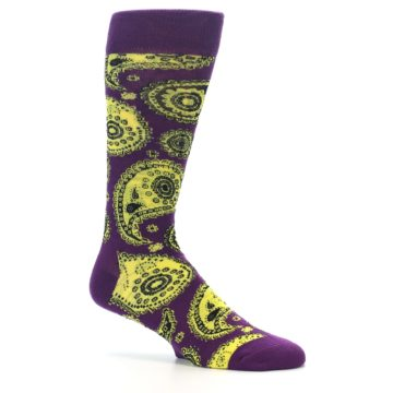 Image of Purple Yellow Black Paisley Men's Dress Socks (side-1-25)