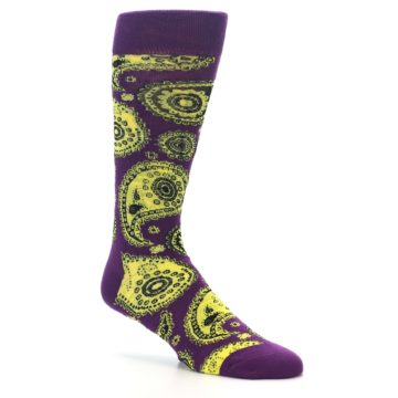 Image of Purple Yellow Black Paisley Men's Dress Socks (side-1-26)
