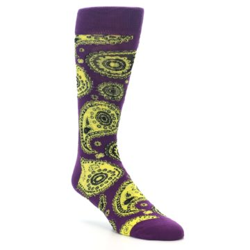 Image of Purple Yellow Black Paisley Men's Dress Socks (side-1-27)
