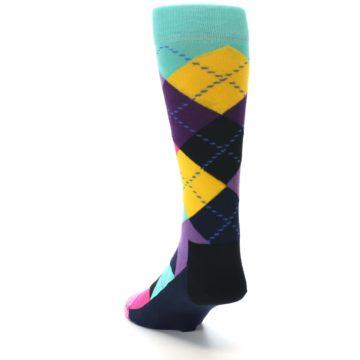 Image of Purple Yellow Multi Color Argyle Men's Dress Socks (side-2-back-16)