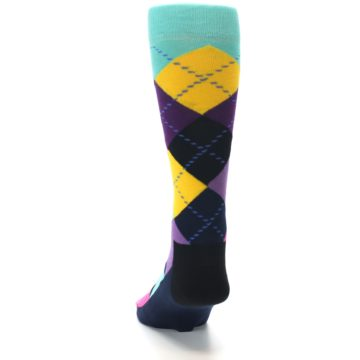 Image of Purple Yellow Multi Color Argyle Men's Dress Socks (back-17)