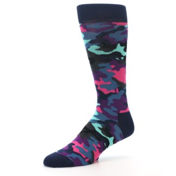 Image of Black Multi Color Camo Men's Dress Socks (side-2-09)