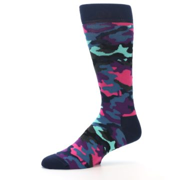 Image of Black Multi Color Camo Men's Dress Socks (side-2-10)