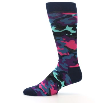 Image of Black Multi Color Camo Men's Dress Socks (side-2-11)