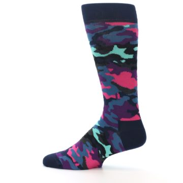 Image of Black Multi Color Camo Men's Dress Socks (side-2-12)