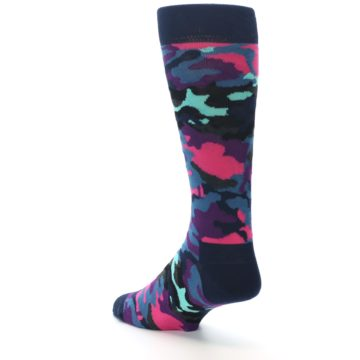 Image of Black Multi Color Camo Men's Dress Socks (side-2-back-15)