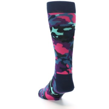 Image of Black Multi Color Camo Men's Dress Socks (side-2-back-16)