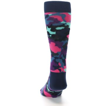 Image of Black Multi Color Camo Men's Dress Socks (back-17)