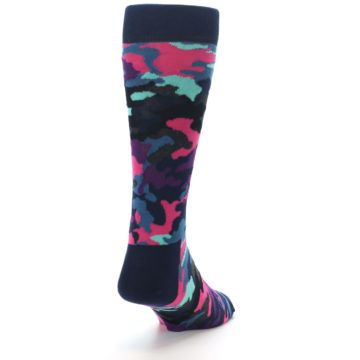 Image of Black Multi Color Camo Men's Dress Socks (side-1-back-20)