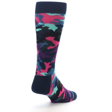 Image of Black Multi Color Camo Men's Dress Socks (side-1-back-21)