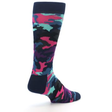Image of Black Multi Color Camo Men's Dress Socks (side-1-back-22)