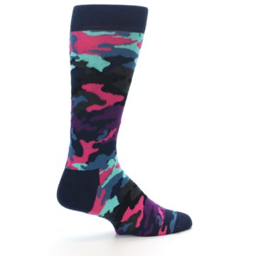 Image of Black Multi Color Camo Men's Dress Socks (side-1-23)