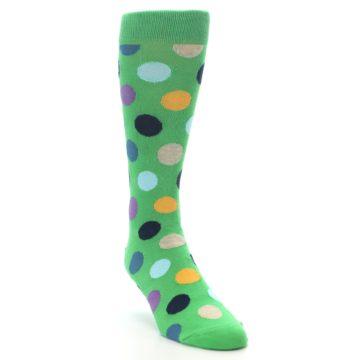 Image of Green Multi Color Polka Dot Men's Dress Socks (side-1-front-02)