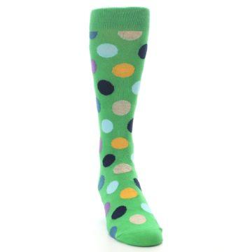 Image of Green Multi Color Polka Dot Men's Dress Socks (side-1-front-03)