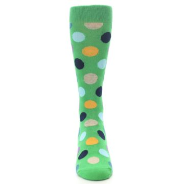 Image of Green Multi Color Polka Dot Men's Dress Socks (front-04)