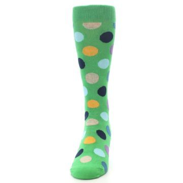 Image of Green Multi Color Polka Dot Men's Dress Socks (front-05)
