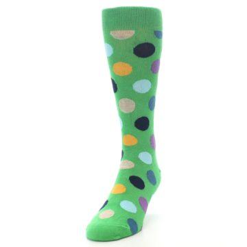 Image of Green Multi Color Polka Dot Men's Dress Socks (side-2-front-06)