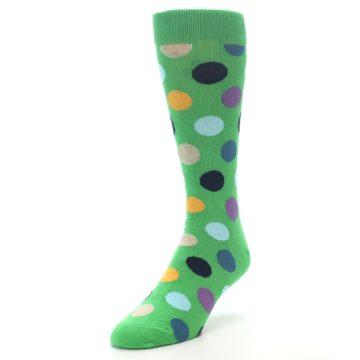 Image of Green Multi Color Polka Dot Men's Dress Socks (side-2-front-07)