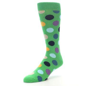 Image of Green Multi Color Polka Dot Men's Dress Socks (side-2-front-08)