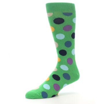 Image of Green Multi Color Polka Dot Men's Dress Socks (side-2-09)