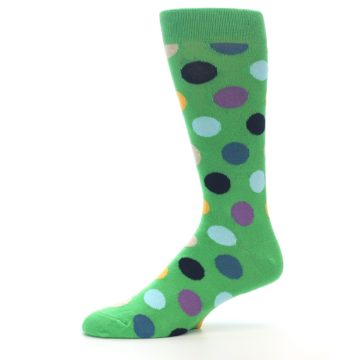 Image of Green Multi Color Polka Dot Men's Dress Socks (side-2-10)
