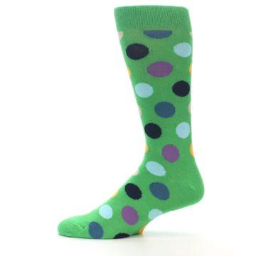 Image of Green Multi Color Polka Dot Men's Dress Socks (side-2-11)