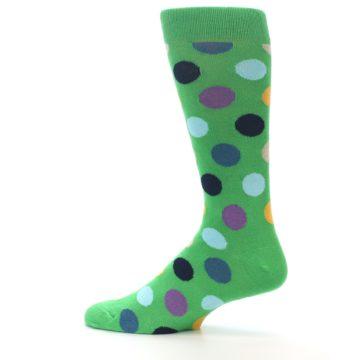 Image of Green Multi Color Polka Dot Men's Dress Socks (side-2-12)