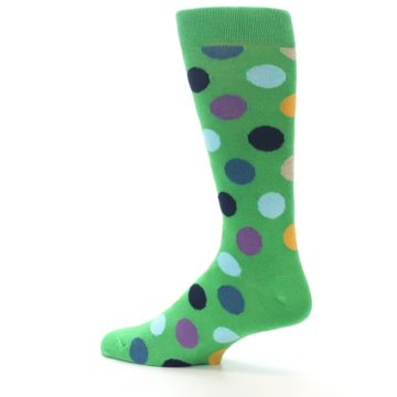 Image of Green Multi Color Polka Dot Men's Dress Socks (side-2-13)