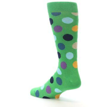 Image of Green Multi Color Polka Dot Men's Dress Socks (side-2-back-14)