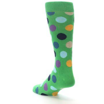 Image of Green Multi Color Polka Dot Men's Dress Socks (side-2-back-15)