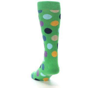 Image of Green Multi Color Polka Dot Men's Dress Socks (side-2-back-16)
