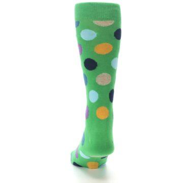 Image of Green Multi Color Polka Dot Men's Dress Socks (back-17)