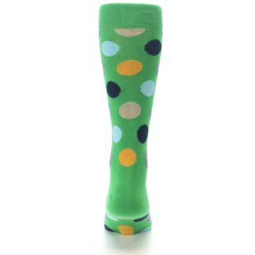 Image of Green Multi Color Polka Dot Men's Dress Socks (back-18)
