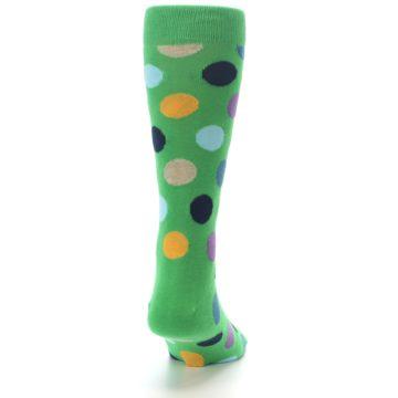 Image of Green Multi Color Polka Dot Men's Dress Socks (back-19)