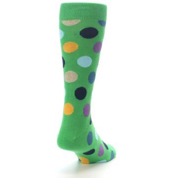 Image of Green Multi Color Polka Dot Men's Dress Socks (side-1-back-20)