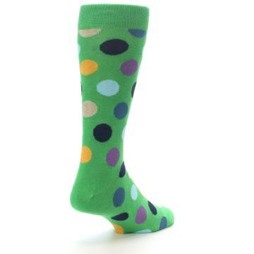 Image of Green Multi Color Polka Dot Men's Dress Socks (side-1-back-21)