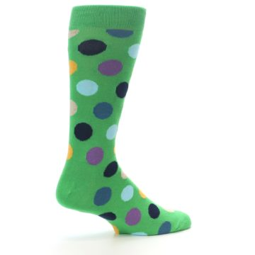 Image of Green Multi Color Polka Dot Men's Dress Socks (side-1-23)