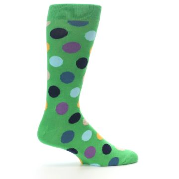 Image of Green Multi Color Polka Dot Men's Dress Socks (side-1-24)