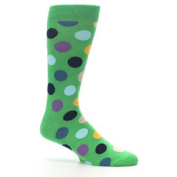 Image of Green Multi Color Polka Dot Men's Dress Socks (side-1-25)