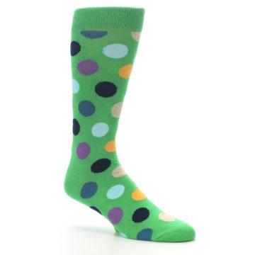 Image of Green Multi Color Polka Dot Men's Dress Socks (side-1-26)