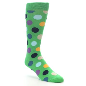 Image of Green Multi Color Polka Dot Men's Dress Socks (side-1-27)