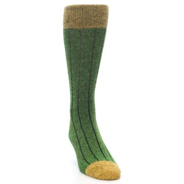 Image of Green Yellow Wool Blend Men's Dress Socks (side-1-front-03)