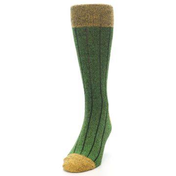 Image of Green Yellow Wool Blend Men's Dress Socks (side-2-front-06)