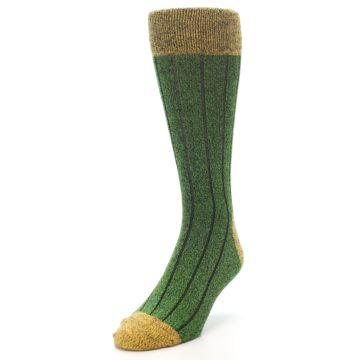 Image of Green Yellow Wool Blend Men's Dress Socks (side-2-front-07)